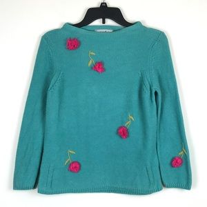 Vintage Cotton Floral Embroidered Sweater